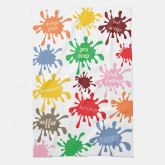 Quirky Colorful Food Stain Splatter Kitchen Towel
