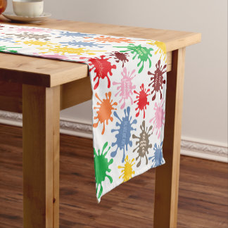 Quirky Colorful Food Stain Splatter Short Table Runner