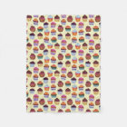 Quirky Colourful Cupcakes Illustration Pattern Fleece Blanket