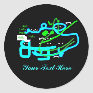 Quirky Creature Says Hello Round Sticker
