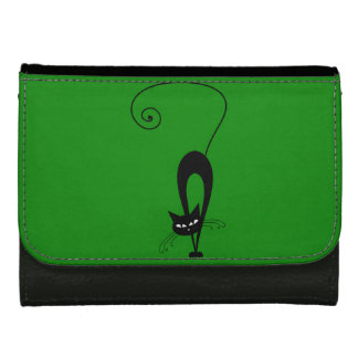 Quirky Funny Black Cat Feline Leather Wallet For Women