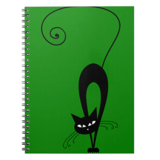 Quirky Funny Black Cat Feline Notebook