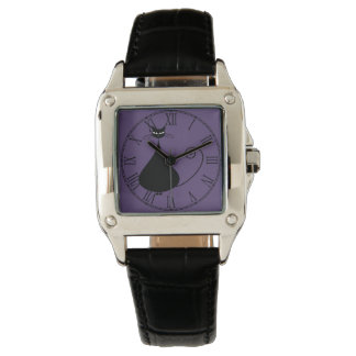 Quirky Funny Black Cat Feline Watch
