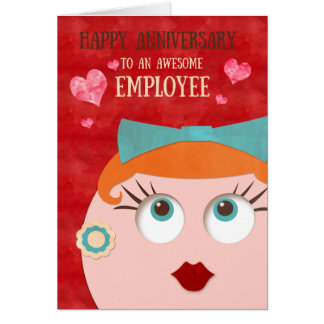 Quirky Hipster Retro Gal Employee Anniversary Card