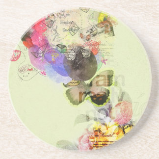 Quirky kitsch mixed media artwork. coaster