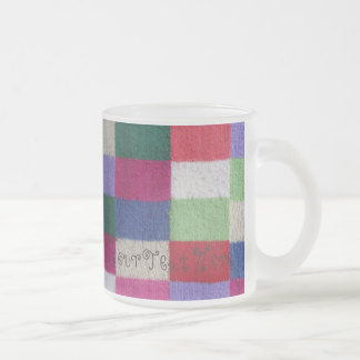 quirky knitted patchwork colourful traditional frosted glass mug