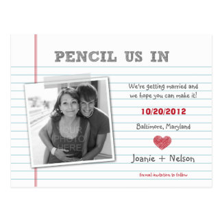 Quirky Note Photo Save The Date Card Postcard