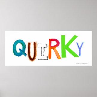 Quirky odd unusual unique fun colorful art word poster