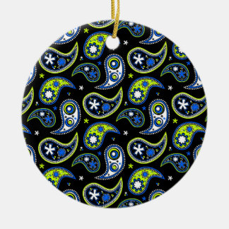Quirky Paisley Blue and Green Round Ceramic Ornament