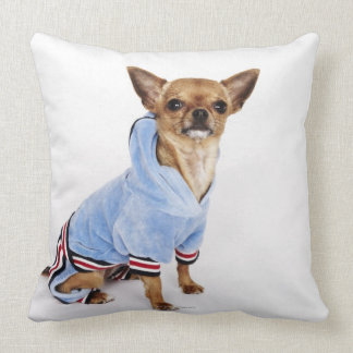 Quirky portrait of a Teacup Chihuahua 2 Throw Pillow