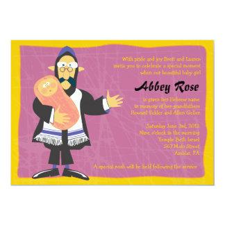 Quirky Rabbi Jewish Baby Naming Invitation Invite