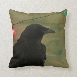 Quirky Raven Art Grunge Throw Pillow