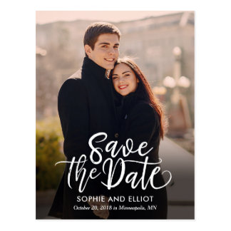 Quirky Script Wedding Save The Date Postcard