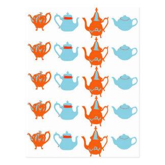 Quirky teapots postcard