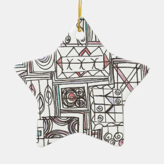 Quirky-Whimsical Abstract Geometric Doodle Ceramic Ornament