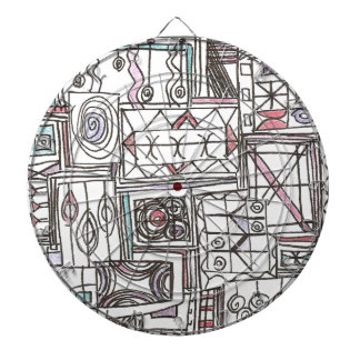 Quirky-Whimsical Abstract Geometric Doodle Dartboard