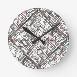Quirky-Whimsical Abstract Geometric Doodle Round Clock
