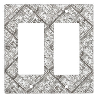 Quirky-Whimsical Abstract Geometric Ink Doodle Art Light Switch Cover