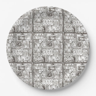 Quirky-Whimsical Abstract Geometric Ink Doodle Art Paper Plate