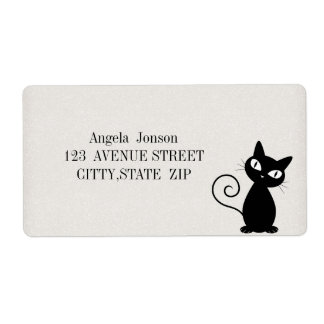 Quirky Whimsical Black Cat Glittery