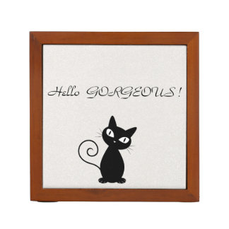Quirky Whimsical Black Cat Glittery-Hello Gorgeous Desk Organizer