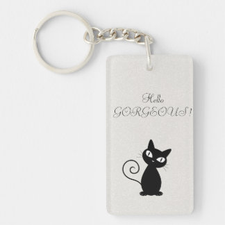 Quirky Whimsical Black Cat Glittery-Hello Gorgeous Double-Sided Rectangular Acrylic Keychain
