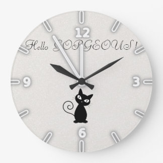 Quirky Whimsical Black Cat Glittery-Hello Gorgeous Large Clock