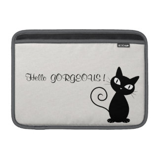Quirky Whimsical Black Cat Glittery-Hello Gorgeous MacBook Sleeve