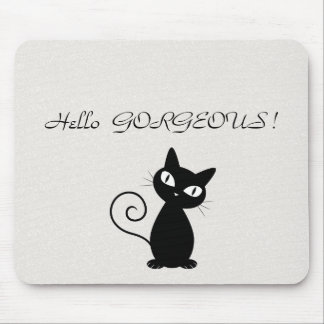 Quirky Whimsical Black Cat Glittery-Hello Gorgeous Mouse Pad