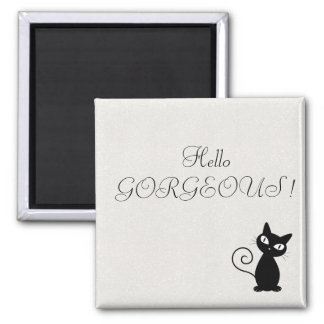 Quirky Whimsical Black Cat Glittery-Hello Gorgeous Square Magnet
