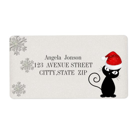 Quirky Whimsical Black Cat Glittery,Santa Hat Shipping Label