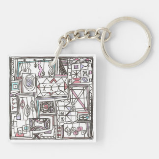 Quirky-Whimsical Geometric Abstract Keychain