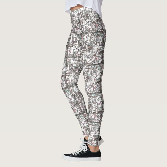 Quirky-Whimsical Geometric Abstract Leggings
