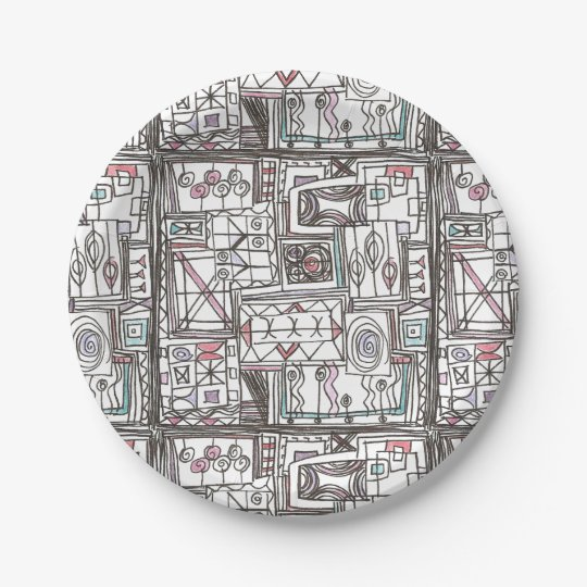 Quirky-Whimsical Geometric Doodle 7 Inch Paper Plate