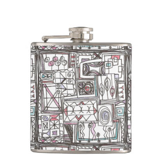 Quirky-Whimsical Geometric Doodle Hip Flask