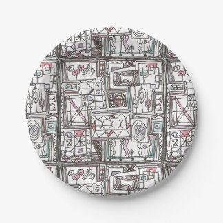 Quirky-Whimsical Geometric Doodle Paper Plate
