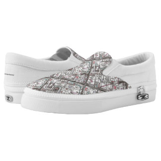 Quirky-Whimsical Geometric Doodle Slip-On Sneakers