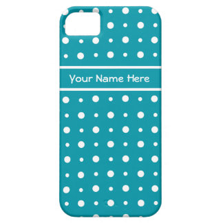 Quirky White Polka Dots on Teal Background iPhone 5 Covers