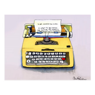 Quirky Yellow Typewriter Post Cards