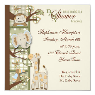 Quited Monkey Baby Shower Invitation