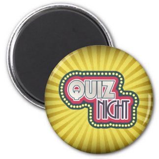 Quiz Night Trivia Party Yellow Sunburst 2 Inch Round Magnet