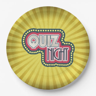 Quiz Night Trivia Party Yellow Sunburst 9 Inch Paper Plate