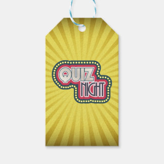 Quiz Night Trivia Party Yellow Sunburst Pack Of Gift Tags