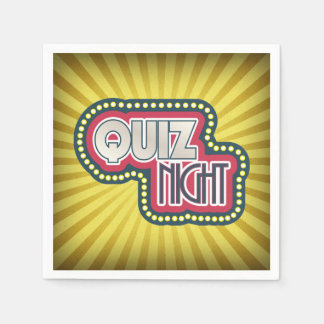 Quiz Night Trivia Party Yellow Sunburst Paper Napkins