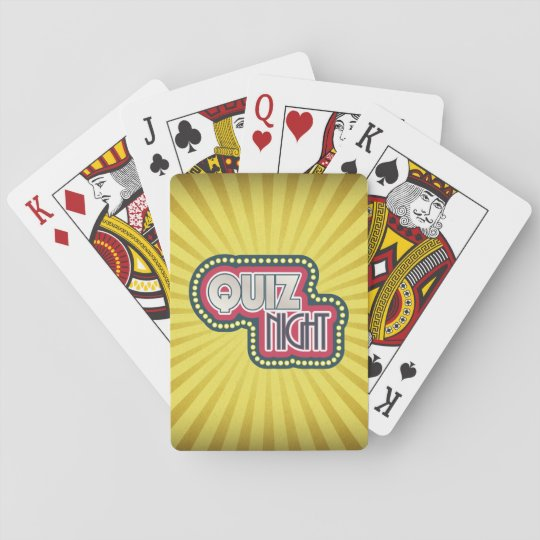 Quiz Night Trivia Party Yellow Sunburst Poker Deck