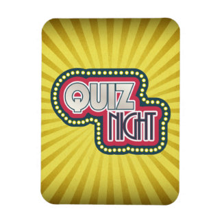 Quiz Night Trivia Party Yellow Sunburst Rectangular Photo Magnet