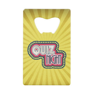 Quiz Night Trivia Party Yellow Sunburst Wallet Bottle Opener