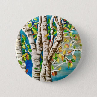 """""""Autumn Birches"""". Acrylics and craft pai 2 Inch Round Button"""