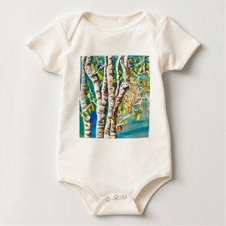 """Autumn Birches"". Acrylics and craft pai Baby Bodysuit"