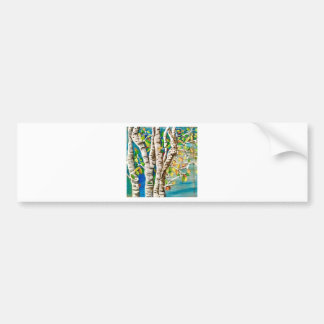 """Autumn Birches"". Acrylics and craft pai Bumper Sticker"